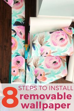 Installing removable wallpaper is easier than I ever imagined. This simple tutorial will teach you everything you need to know so that you can install your favorite peel and stick wallpaper in no time. Temporary wallpaper is a perfect option for renters or for any accent wall! #wallpaper #walldecor #interiordesign #rental #renterfriendly #floral Temporary Wallpaper, Trendy Wallpaper, Of Wallpaper, Wallpaper Stairs, Wallpaper Ideas, Removable Wallpaper For Renters, Diy Home Decor For Apartments, Diy Apartment Decor, Apartment Ideas