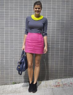 Neon yellow, stripes, and hot pink mini