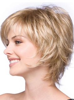 Layered Pixie Haircut with Feathered Ends Human Hair Capless Wig 8 Inches