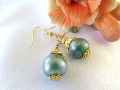 Cowgirls and Ponytails. Green Frost Earrings