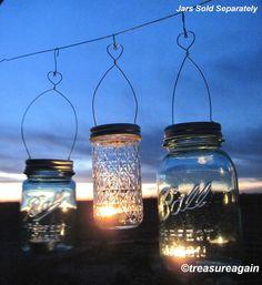 12 DIY Heart Hanging Jar Vase or Candle Mason Jar Heart Hangers, Garden Wedding Lanterns DIY Lids Only