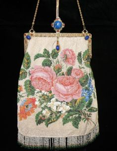 Knitted Microbead Floral Purse with agate Jeweled Frame, SOLD via eBay 8/13 for $480