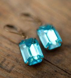 Powder blue earrings  Swarovski Crystal Vintage by NotOneSparrow