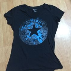 T shirt Vintage converse t shirt with the converse logo on it, v neck. Converse Tops Tees - Short Sleeve