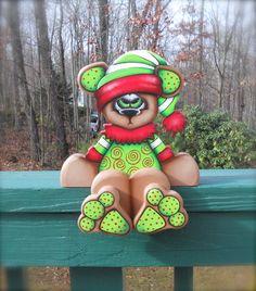 """Cute handmade """"Dotty"""" woodcraft shelf sitter December bear"""