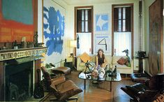 """Helen Frankenthaler and husband Robert Motherwell's living room from the article """"Artists as Collectors"""", in the November/December 1967 issue of Art in America."""