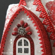 Valentine Putz House Chalet German Glass Glitter Red by MagiaMia