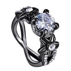 Vintage InifityRings Flower CZ Austria Crystal 18K Black Gold Plated Filled Full Size 7 8 9 Wedding Rings for Women Finger Rings