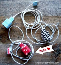 shaken together: {try this} organize iPhone chargers with washi tape. I love washi tape Diy Washi Tape Projects, Washi Tape Crafts, Washi Tapes, Cinta Washi Tape, Masking Tape, Easy Crafts, Diy And Crafts, Decor Crafts, Do It Yourself Inspiration