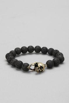 Lava Bead Skull Bracelet Online Only