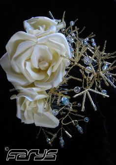 Headwear for Wedding in Vintage Style. Handmade hair accessories from many glass beads. For the forehead or hair bun.