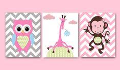Owl Nursery Monkey Nursery Giraffe nursery Baby Girl Nursery Art Nursery wall art baby nursery kids room decor Kids Art set of 3 8x10 rose