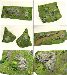 Plateau end caps modular terrain Landscape Model, Landscape Concept, Miniature Bases, Miniature Figurines, Castle Crafts, Dungeons And Dragons Game, Warhammer Terrain, Game Terrain, Wargaming Terrain