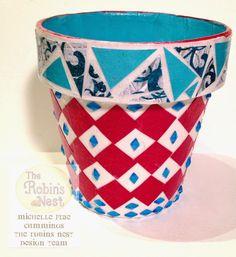 Chattering Robin's: Patriotic Mosaic Planters Pot tutorial