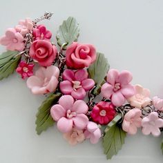 Can you say Beautiful??? Flower Garden Bracelet Bridal Jewelry Polymer by beadscraftz: