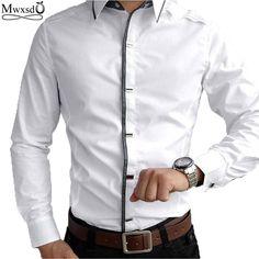 Top Quality 2017 new mens casual long Sleeve Shirts Men Rock Shirt Men Slim Fit  Male 100% Cotton  shirt