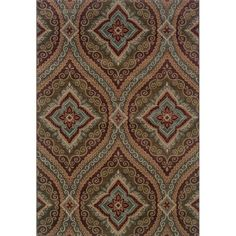 This rug puts a modern twist on an elegant and traditional oversized panel design. The earthy neutrals, spa blue, crimson red and soft tangerine palette of this machine-woven polypropylene rug make it the perfect backdrop for your home's decor.