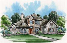 European Style House Plans - 3692 Square Foot Home , 2 Story, 4 Bedroom and 4 Bath, 3 Garage Stalls by Monster House Plans - Plan 63-132