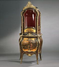 "Louis XV Style Vitrine Cabinet (close up of cabinet image in ""Elegant Gold and Ivory Board""  A Very Fine French 19th Century Louis XV Style Tulipwood and Gilt-Bronze Mounted Vernis Martin Decorated Vitrine Cabinet. Circa: Paris, 1880"