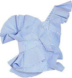 Johanna Ortiz - Dama Danzante One-shoulder Ruffled Cotton-poplin Top - Light blue - StylishOffer One Shoulder Ruffle Top, Off One Shoulder Tops, Light Blue Blouse, Light Blue Shirts, White Ruffle Blouse, Ruffle Shirt, Frill Tops, Flutter Sleeve Top, Blouses For Women