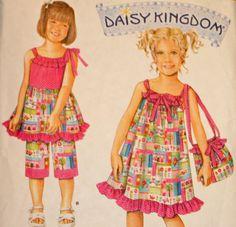Child's Dress Top Capri Pants and Bag Sewing Pattern