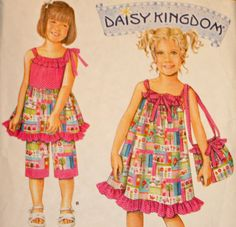 Child's Dress Top Capri Pants and Bag Sewing Pattern