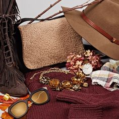 We're wrapping up for a leisurely afternoon walk.  #accessories #hat #camel #boots #bags #sunglasses
