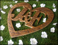 Rustic Wedding Guest Book.  Wedding Guest Book Alternative.  Custom Guest Book. Custom Monogram Heart with Hand Rubbed Tint.  Three Sizes. by PrivilegedDoor on Etsy https://www.etsy.com/listing/233160138/rustic-wedding-guest-book-wedding-guest