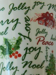 Starbucks Christmas Mug Holiday 2007 Coffee Cup 12 Ounces Merry Holly HoHo Noel Starbucks Christmas Mugs, Stocking Ideas, Mug Recipes, Tis The Season, Coffee Cups, Madness, Merry, Seasons, Holiday