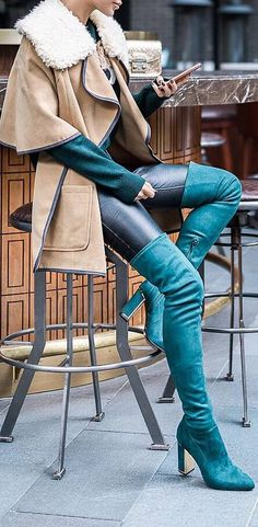 spring outfit idea with green over the knee boots