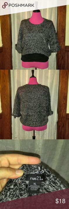 Black and Gray Cropped Sweater & Black Tank Top This cute sweater is great when layered. It's, somewhat, see-through so this tank top is a great pairing! It's a cropped sweater, so it's lower in the back & higher in the front. Super cute outfit! Rue21 Sweaters Crew & Scoop Necks