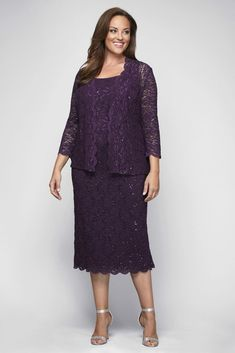 dbfb4cd1e3e Sequin Lace Plus Size Cocktail Dress with Jacket Style 412264