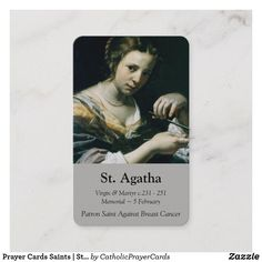 Prayer Cards Saints | St Agatha 2 #PrayerCards #HolyCards #MassCards #VintagePrayerCards Female Catholic Saints, Cancer Prayer, Prayer Cards, Patron Saints, Business Card Size, Smudging, Paper Texture, Prayers, Things To Come