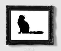 Maine Coon Cat Silhouette Handcut Original Cat by elizaBcrafts