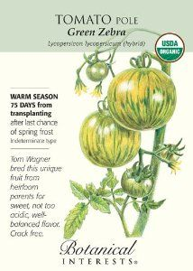 "Tomato ""Green Zebra"" Certified Organic Heirloom Seeds by Botanical Interests. $2.39. Lycopersicon lycopersicum hybrid. It's is extremely prolific, and can reach 6 feet so be sure to provide a good support.. Green Zebra was bred for it's balanced taste.. This famous tomato is golden green with darker green stripes.. Make sure when you are planting your tomato starts in your garden, that your soil has warm and is not soggy."