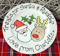 Personalised Santa & Rudolf Christmas Gift Plate