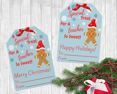 """This listing includes 2 digital downloadable PDF Files containing 9 """"Merry Christmas"""" & 9 """"Happy Holidays"""" gingerbread gift tags for teachers. These are perfect to use at your child's daycare, preschool, or elementary school. Christmas Gift Tags Printable, Holiday Gift Tags, Christmas Printables, Teacher Gift Tags, Teacher Appreciation Gifts, Christmas Gingerbread, Christmas Tag, Happy Holidays, Preschool"""