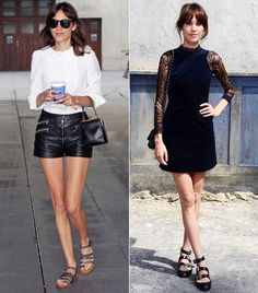 Classy look for high waisted shorts; hair pairing with lace dress