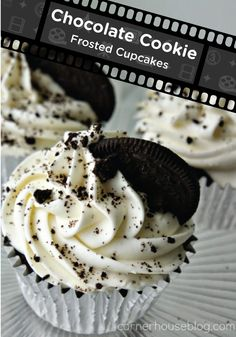 Chocolate Cookie Frosted Cupcakes - Your kids won't be able to get enough of this icing– it tastes like the inside of a fluffy cheesecake!