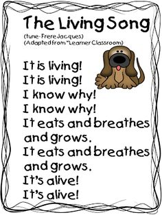& Living Song& (Tune: & Jacques& This song is great to add to a unit on living and non-living things because it will help the students to remember what makes something living. Also, kids will have a lot of fun learning a song and singing in the classroom. Preschool Songs, Kindergarten Science, Science Classroom, Teaching Science, Science Activities, Teaching Ideas, Classroom Ideas, Student Teaching, Science Experiments