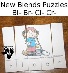 Free Blends Puzzles: Bl-, Br-, Cl-, Cr- fun and easy to use blends puzzles - 3Dinosaurs.com
