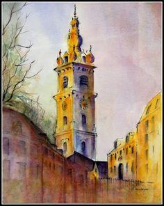 Beffroi de Mons, aquarelle, Jean-Pierre Saudoyer
