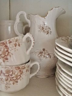 Brown Transferware Teacups and Saucer with Pitcher