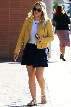 Hilary Duff wearing IRO Ashville Yellow Jacket and Giuseppe Zanotti Beige Nuvorock Sandal