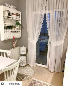 batu with ・・・ Mutfağım dan bir kare ile herkese… Living Room Decor Curtains, Home Curtains, Bed Sheet Curtains, Ethnic Home Decor, Cottage Kitchens, Curtain Designs, Decoration, Sweet Home, Shabby Chic