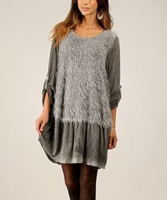 This Gray Plush Scoop Neck Dress by Un Coeur en Ete is perfect! #zulilyfinds