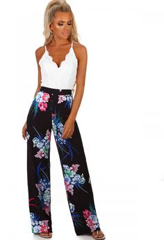 Sweet N Sassy Black Multi Floral Wide Leg Trousers | Pink Boutique