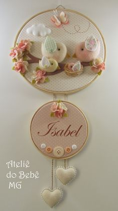 New Ideas For Embroidery Hoop Crafts Diy Felt Embroidery Hoop Crafts, Hand Embroidery Patterns, Felt Crafts Diy, Arts And Crafts, Baby Mobile, Felt Baby, Baby Decor, Baby Sewing, Felt Flowers