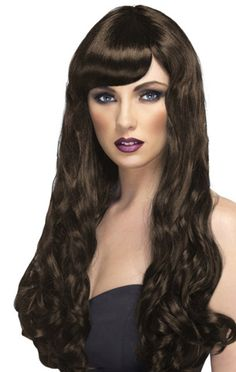 Deluxe Elise Long Black Curly Wig with Bangs