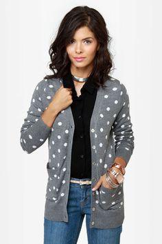 Cute Grey Sweater - Polka Dot Sweater - Cardigan Sweater - $48.00